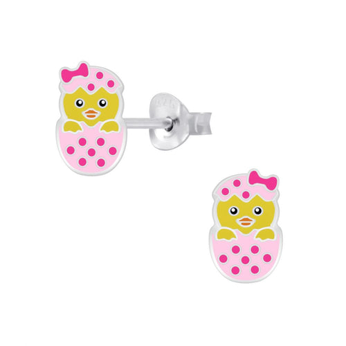 Children's Sterling Silver 'Hatching Easter Chick' Stud Earrings