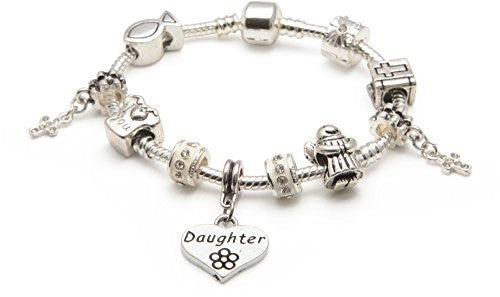 Girls First Holy Communion/Confirmation for Daughter Silver Plated Charm Bracelet
