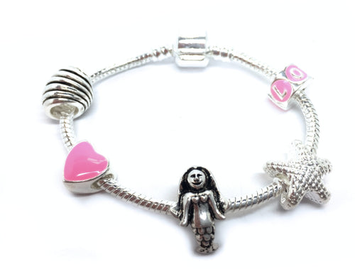 childrens charm bracelet pink and silver mermaid