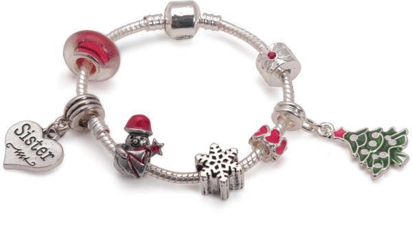 Adult's Teenagers 'Sister Christmas Dream' Silver Plated Charm Bracelet