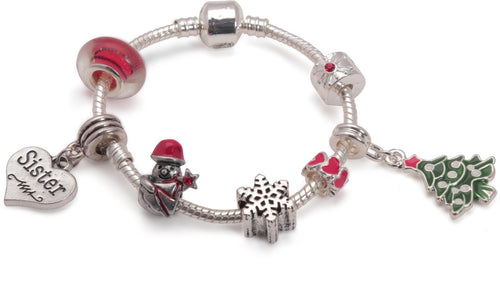 childrens christmas sister bracelet with charms and beads