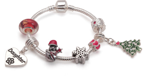 Children's 'Daughter Christmas Dream' Silver Plated Charm Bracelet