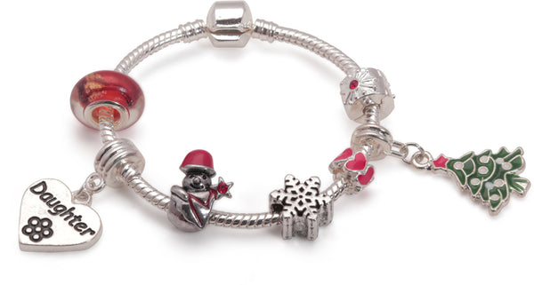 Adult's Teenagers 'Daughter Christmas Dream' Silver Plated Charm Bracelet