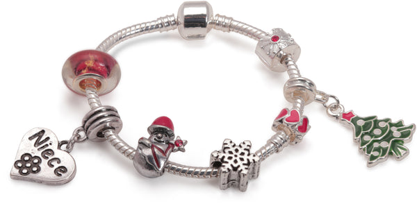 Adult's Teenagers 'Niece Christmas Dream' Silver Plated Charm Bracelet