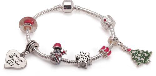 Adult's 'Special Teacher Christmas Dream' Silver Plated Charm Bracelet