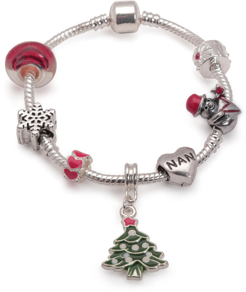 Adult's 'Nan Christmas Dream' Silver Plated Charm Bracelet