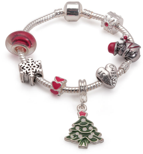 Adult's Teenagers 'Best Friend Christmas Dream' Silver Plated Charm Bracelet