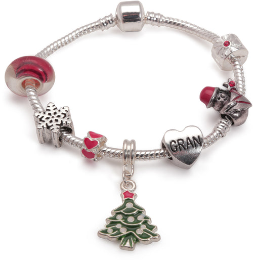 Adult's 'Gran Christmas Dream' Silver Plated Charm Bracelet