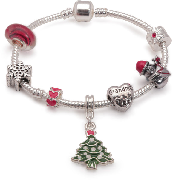Adult's 'Grandma Christmas Dream' Silver Plated Charm Bracelet