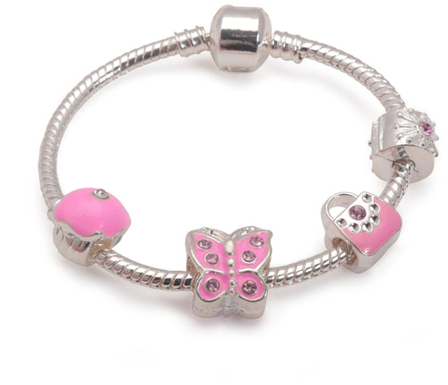 Children's 'Pretty In Pink' Silver Plated Charm Bead Bracelet