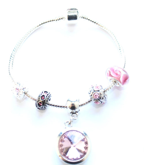 Teenager's 'October Birthstone' Rose Coloured Crystal Silver Plated Charm Bead Bracelet