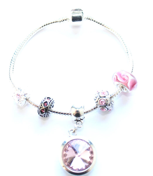 Adult's 'October Birthstone' Rose Coloured Crystal Silver Plated Charm Bead Bracelet