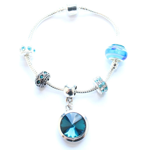 Adult's 'December Birthstone' Turquoise Coloured Crystal Silver Plated Charm Bead Bracelet
