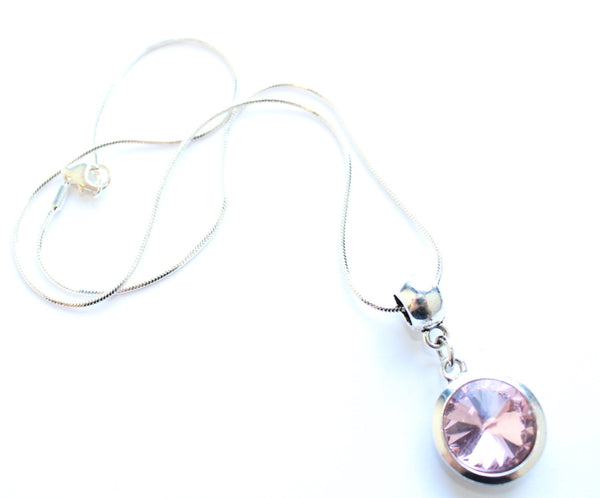 Silver Plated 'October Birthstone' Rose Coloured Crystal Pendant Necklace