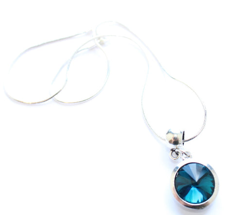Silver Plated 'December Birthstone' Turquoise Coloured Crystal Pendant Necklace