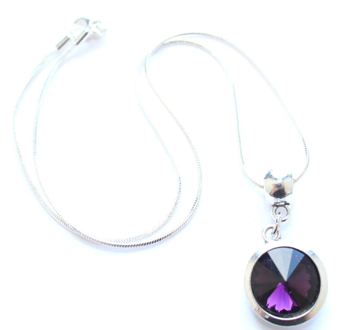 Silver Plated 'February Birthstone' Amethyst Coloured Crystal Pendant Necklace