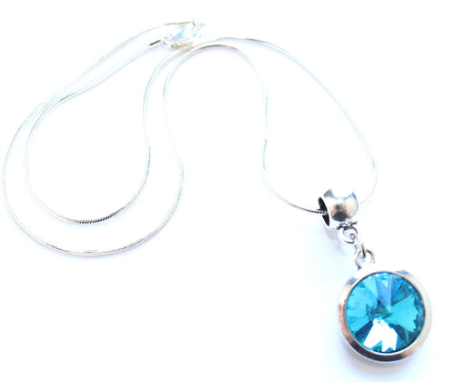 Silver Plated 'March Birthstone' Aqua Coloured Crystal Pendant Necklace