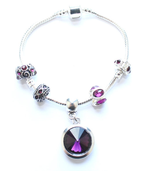 Teenager's 'February Birthstone' Amethyst Coloured Crystal Silver Plated Charm Bead Bracelet
