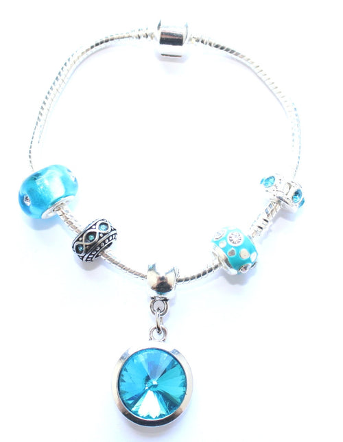 Adult's 'March Birthstone' Aqua Coloured Crystal Silver Plated Charm Bead Bracelet