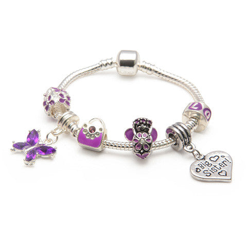purple fairy childrens big sister bracelet with charms and beads