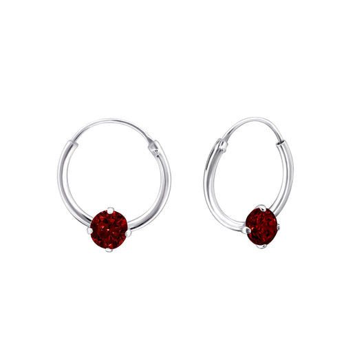 Children's Sterling Silver 'January Birthstone' Hoop Earrings