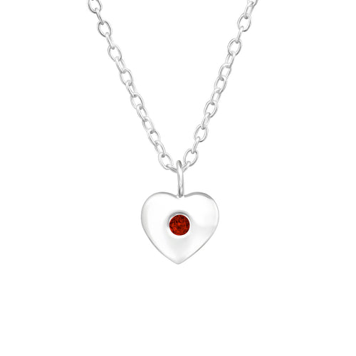 Children's Sterling Silver 'January Birthstone' Heart Necklace