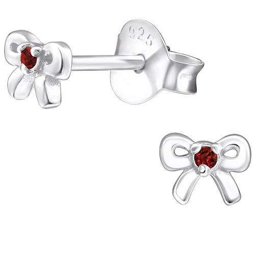 Children's Sterling Silver 'January Birthstone' Bow Stud Earrings