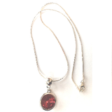 Silver Plated 'January Birthstone' Garnet Coloured Crystal Pendant Necklace