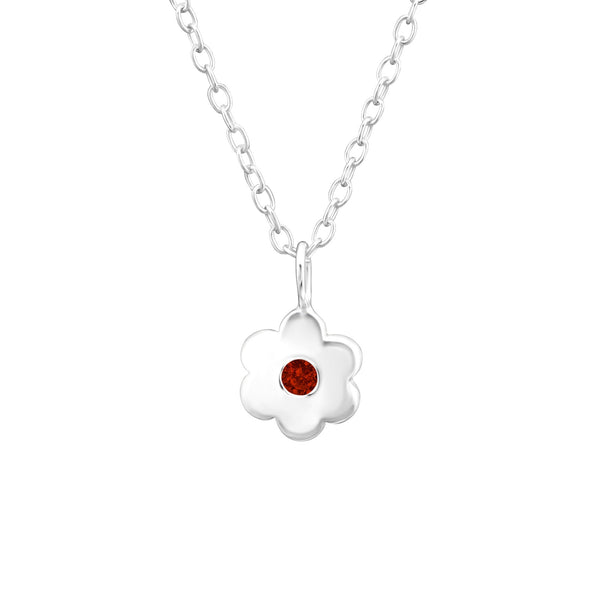 Children's Sterling Silver 'January Birthstone' Solid Flower Necklace