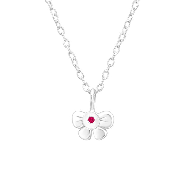 Children's Sterling Silver 'July Birthstone' Bow Necklace
