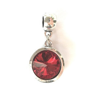 July Birthstone Ruby Coloured Crystal Drop Charm