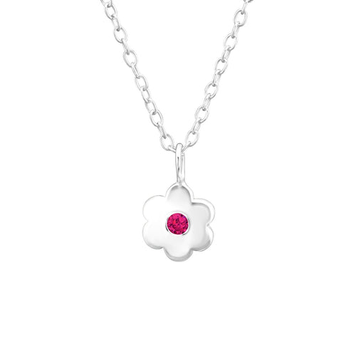 Children's Sterling Silver 'July Birthstone' Solid Flower Necklace