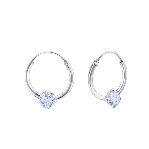 Children's Sterling Silver 'June Birthstone' Hoop Earrings