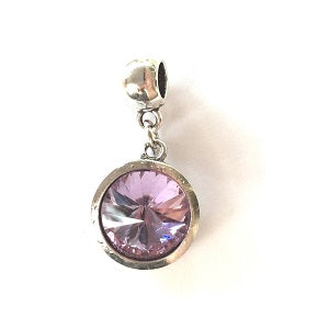 June Birthstone Amethyst Coloured Crystal Drop Charm