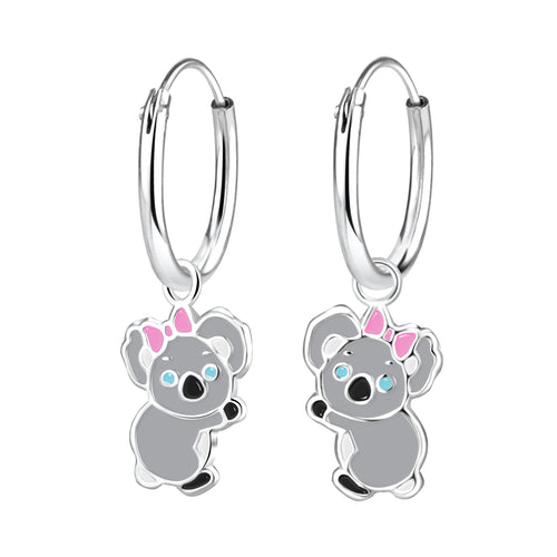 Children's Sterling Silver 'Koala Bear Girl' Hoop Earrings
