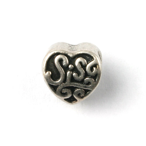 Silver Plated Sis Heart Charm