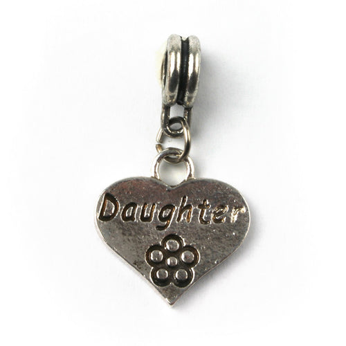 Silver Plated Daughter Heart Drop Charm