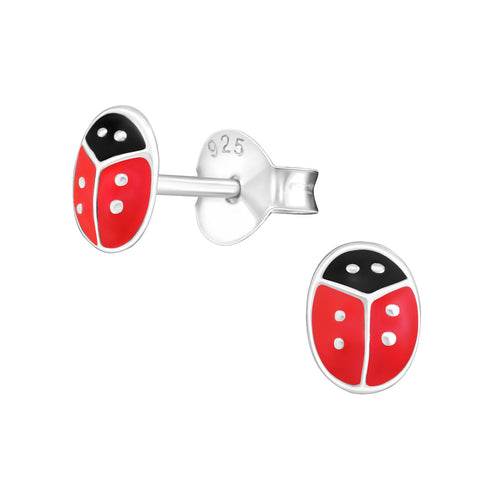 Children's Sterling Silver 'Red Ladybird' Stud Earrings