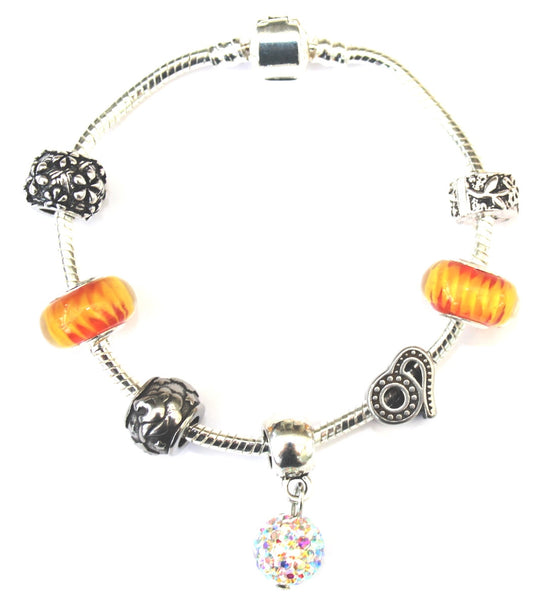 Leo 'The Lion',  Zodiac Sign Silver Plated Charm Bracelet (July 23- Aug 22)