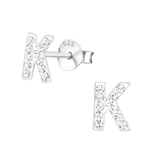 Children's Sterling Silver 'Letter K' Crystal Stud Earrings