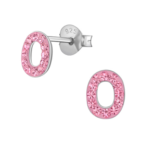 Children's Sterling Silver 'Letter O' Pink Crystal Stud Earrings