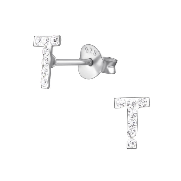 Children's Sterling Silver 'Letter T' Crystal Stud Earrings