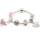 Children's Little Sister 'Love To Dance' Silver Plated Charm Bead Bracelet
