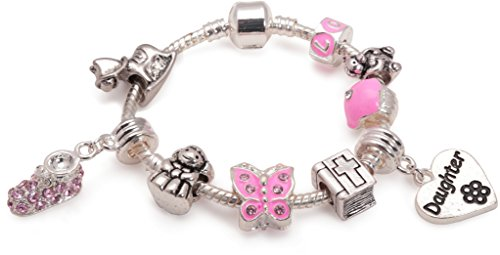 Baby Girl's Christening Keepsake 'Little Angel Daughter' Silver Plated Charm Bead Bracelet