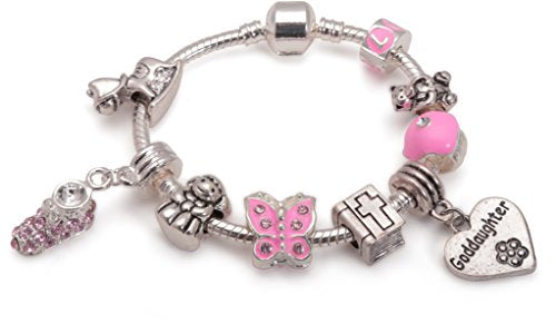 Baby Girls 'Little Angel Goddaughter' Silver Plated Charm Bead Bracelet