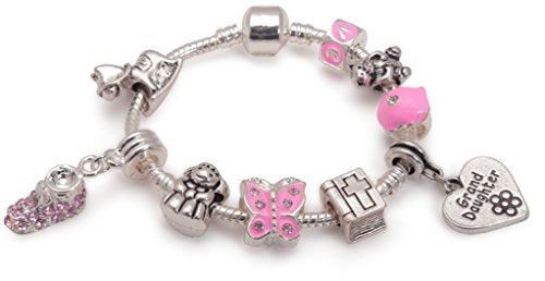 Baby Girls 'Little Angel Grand Daughter' Silver Plated Charm Bead Bracelet