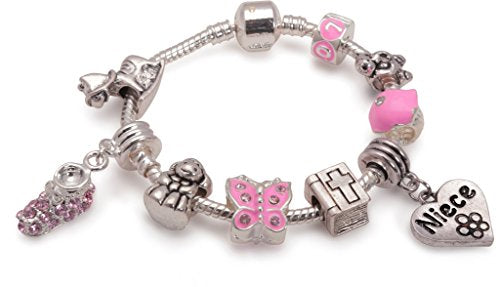 Baby Girls 'Little Angel Niece' Silver Plated Charm Bead Bracelet