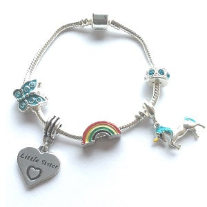 Children's Little Sister 'Magical Unicorn' Silver Plated Charm Bead Bracelet