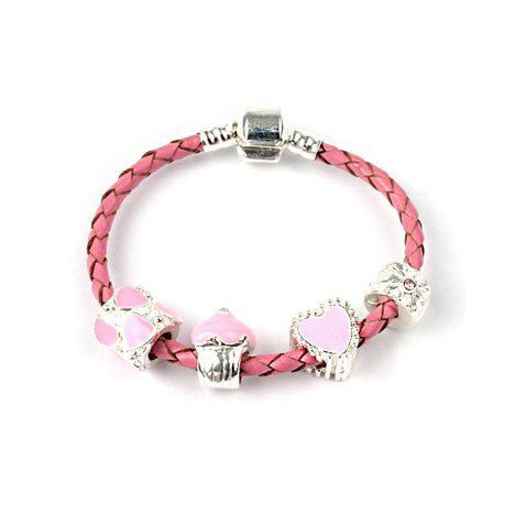 Children's 'Love and Kisses' Pink Leather Charm Bead Bracelet