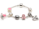 Children's Princess 'Love To Dance' Silver Plated Charm Bead Bracelet